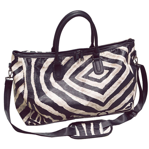 Crossbody Zebra Pattern Leather Duffel Bag (2 sizes)