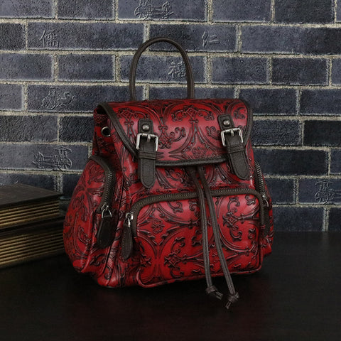 LindsiAlexander.com -  Genuine Leather Embossed Backpack in Red