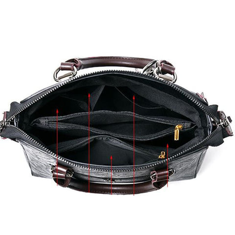 Leather Shoulder Bag with Black Accents (6 colors)