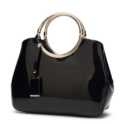 LindsiAlexander.com - Patent Leather Silver Accented Handbag in Black