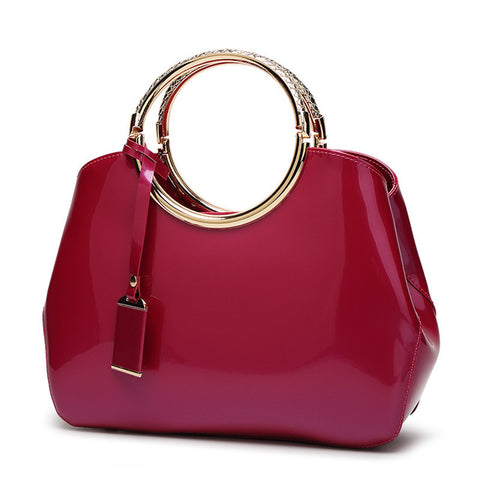 LindsiAlexander.com - Patent Leather Silver Accented Handbag in Hot Pink