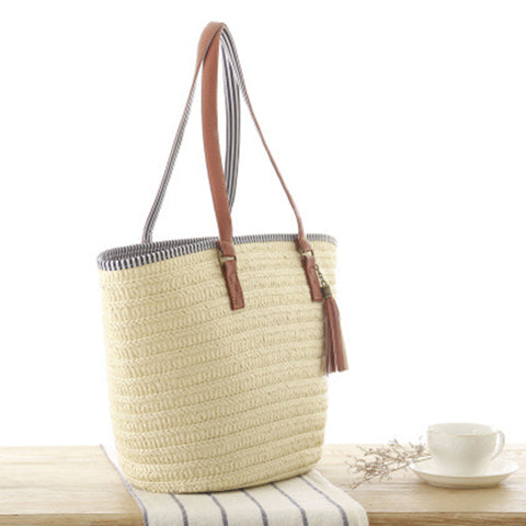 LindsiAlexander.com - Summer Straw Casual Beach Tote in Beige
