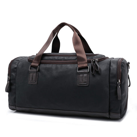 Men's Casual Split Leather Travel Duffel Bag - Blue - Lindsi Alexander Bags