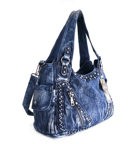 LindsiAlexander.com Blue Denim Sequined Tote Bag