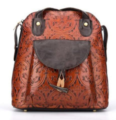 Retro Genuine Leather Embossed Handbag/Backpack (2 colors)
