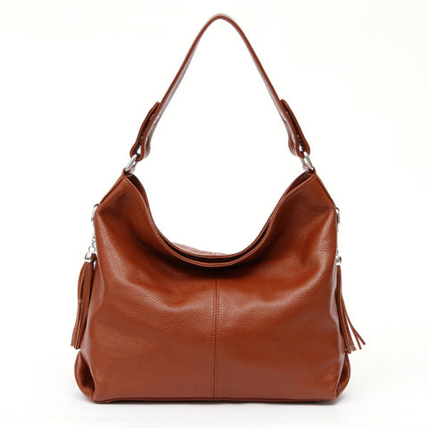 LindsiAlexander.com - Soft Genuine Leather Classic Handbag in Brown