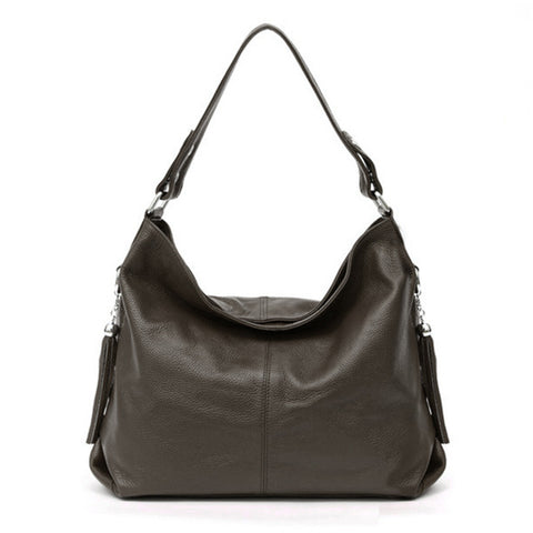 LindsiAlexander.com - Soft Genuine Leather Classic Handbag in Coffee