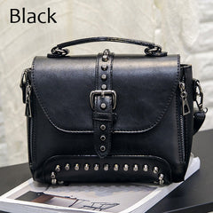 Vintage Leather Riveted Handbag (6 colors)