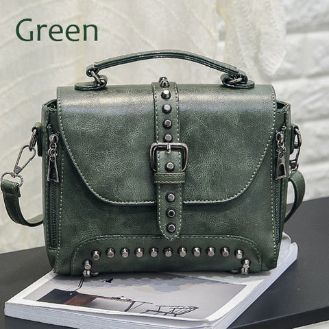 LindsiAlexander.com Vintage Riveted Handbag in Green