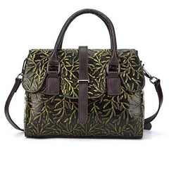 Genuine Leather Vintage Embossed Handbag (2 colors)