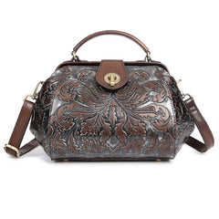 Genuine Leather Embossed Handbag  (2 colors)
