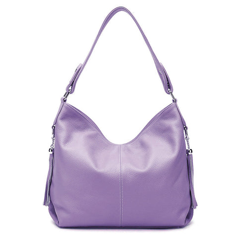 LindsiAlexander.com - Soft Genuine Leather Classic Handbag in Purple