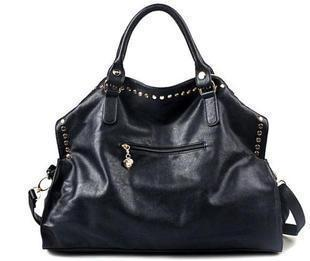 LindsiAlexander.com Black Punk Split Leather Rivet Tote Bag