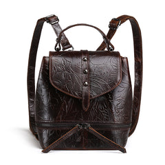 Vintage Genuine Cowhide Leather Embossed Backpack
