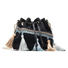 Mini Bucket Cross Body Fringe Shoulder Bag (2 colors)