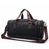 Image of Men's Casual Split Leather Travel Duffel Bag - Black - Lindsi Alexander Bags