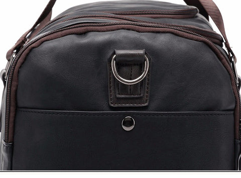 Men's Casual Split Leather Travel Duffel Bag - Black - Lindsi Alexander Bags