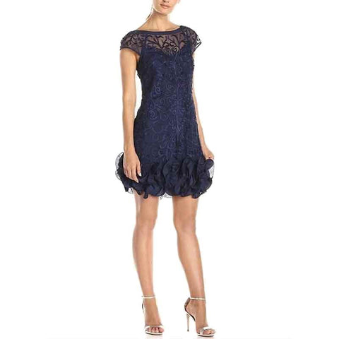Jessica Simpson Floral Lace Ruffle Hem Sheath Dress - Navy