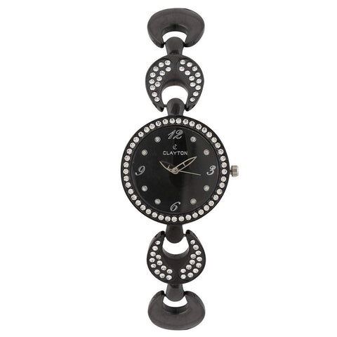 Clayton Black Wrist American Diamond Studded Watch CJW-43
