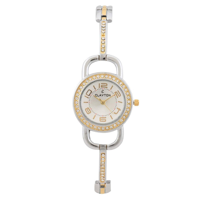 Clayton Silver Dial American Diamond Studded Watch CJW-94