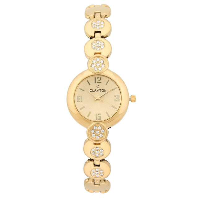Clayton Golden Dial Diamond Studded Watch For Women CJW-02