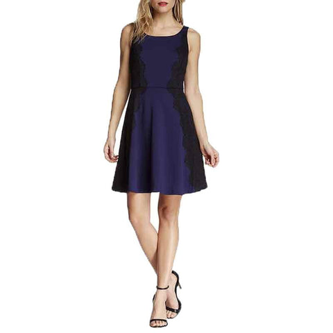Jessica Simpson Lace and Ponte Fit & Flare Dress - Navy