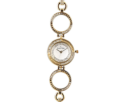 Clayton White Dial Diamond Studded Watch For Women CJW-44