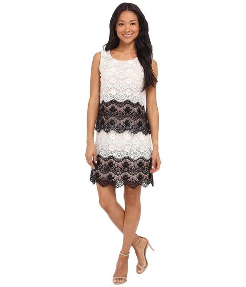 Jessica Simpson Lace Tiered Shift Dress - Blush/Black