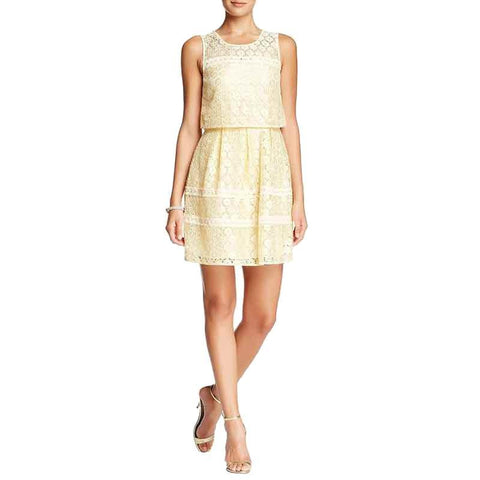 Jessica Simpson Metallic Lace Popover Pleated Dress - Gold
