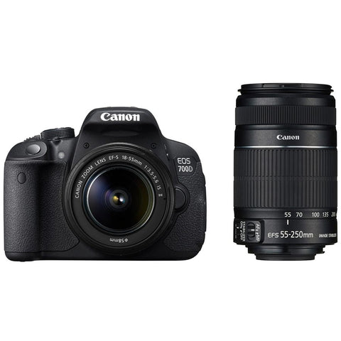 Canon EOS 700D 18MP Digital SLR Camera (Black) with 18-55mm IS II and 55-250mm IS II Lens - 8GB card and Carry Bag