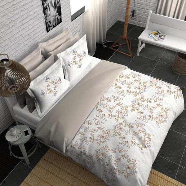 Boutique Living India Trendsetter Palatial Dreams 300 Thread Count Ornamental White King  Printed Bedsheet Set