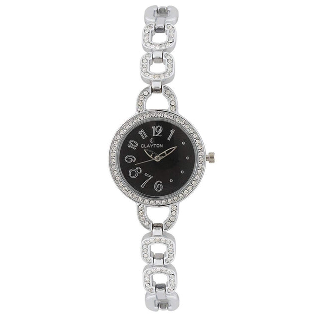 Clayton Black Dial American Diamond Studded Watch CJW-87