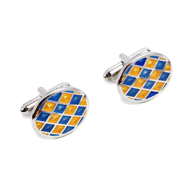 Blue and Yellow Oval Cufflinks IIC CUFLN 0014