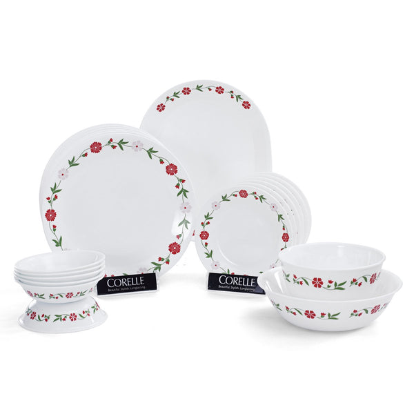Corelle India Impressions Spring 21 Pieces Dinner Set Pink 8903813205735