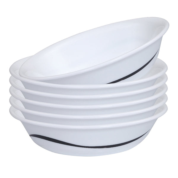 Corelle India Impressions Twists & Turns 6 Pieces Vegetable or Dessert Bowl - White & Black