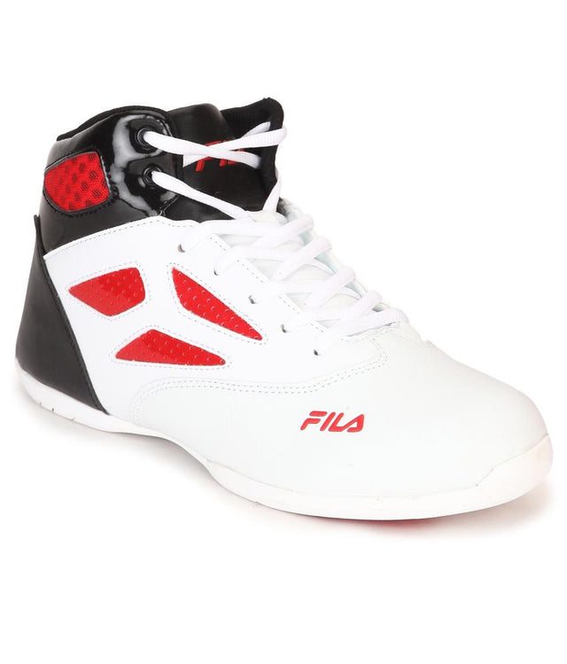 FILA Men's White & Black-Red Rim Loop Sports Shoe - 11004049