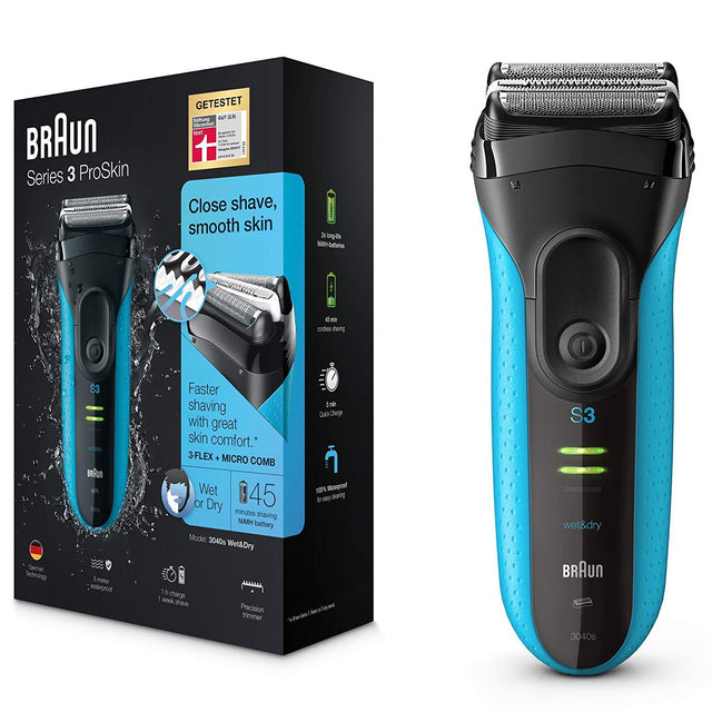 Braun Men's Series 3 3040 Wet and Dry Shaver (Black, Blue)