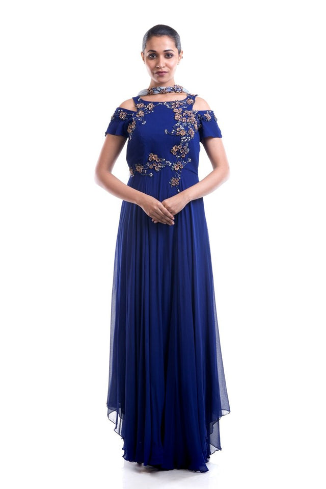 Anushree Agarwal - Indigo Blue Embellished Suit Set