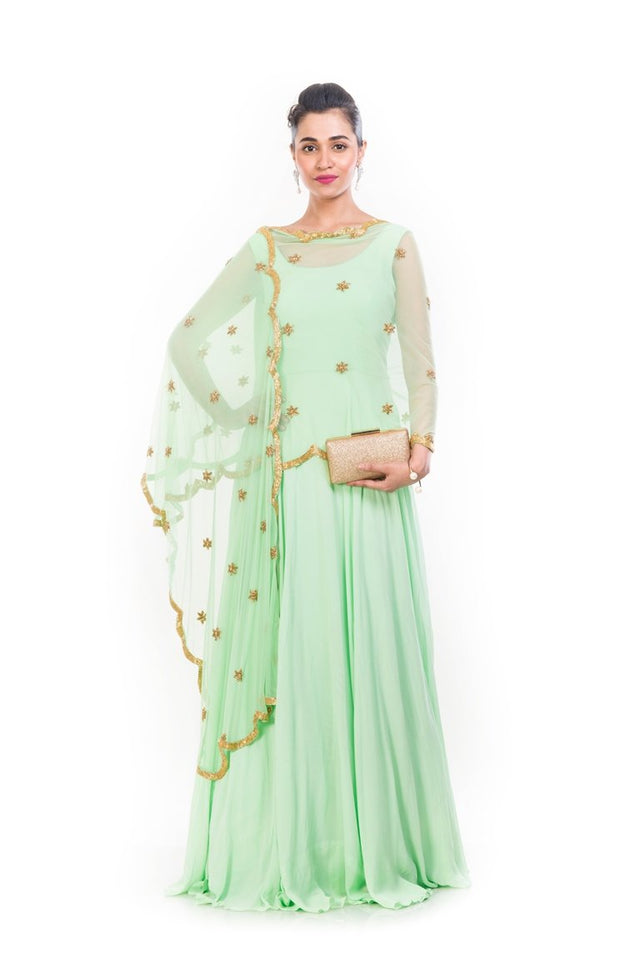 Lime Green Cape Dupatta Suit - AES439