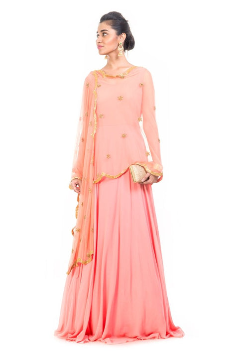 Peach Cape Dupatta Set - AES440
