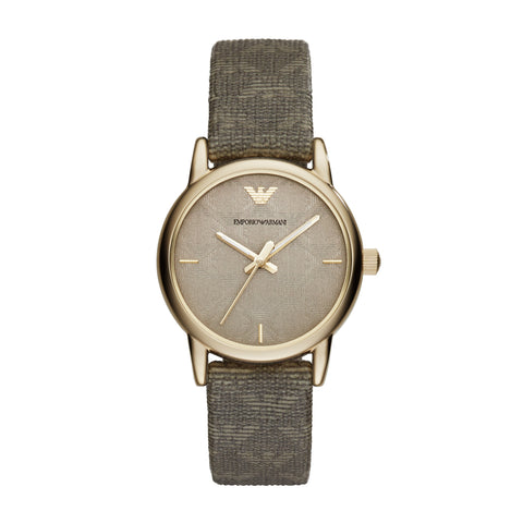 Emporio Armani Women's Grey Dial Analog Leather Watch