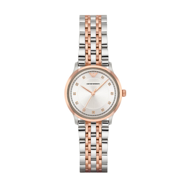 Emporio Armani Women's Silver & Rose Gold Analog Watch