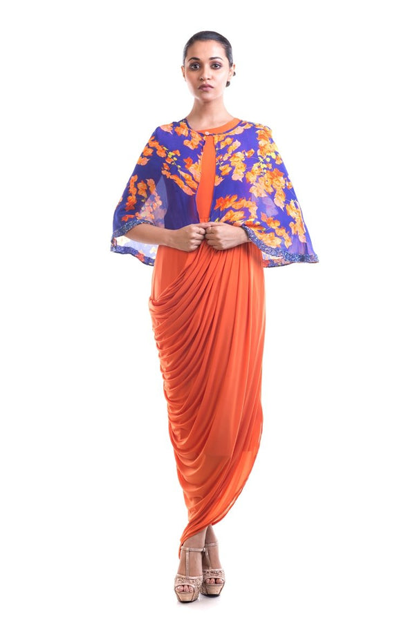 Anushree Agarwal - Tangerine Orange Draped Dress With Printed Cape