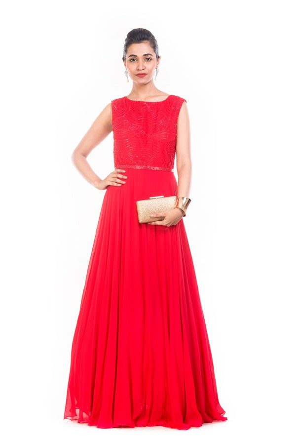 Blood Red Pearl Embellished Gown - AWD317