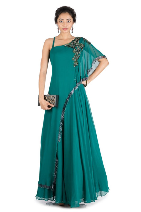 Teal Green One Side Cape Flare Gown