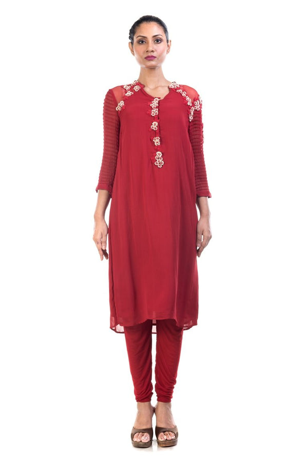 Anushree Agarwal - Oxblood Red Long Tunic With Cordwork Sleeves