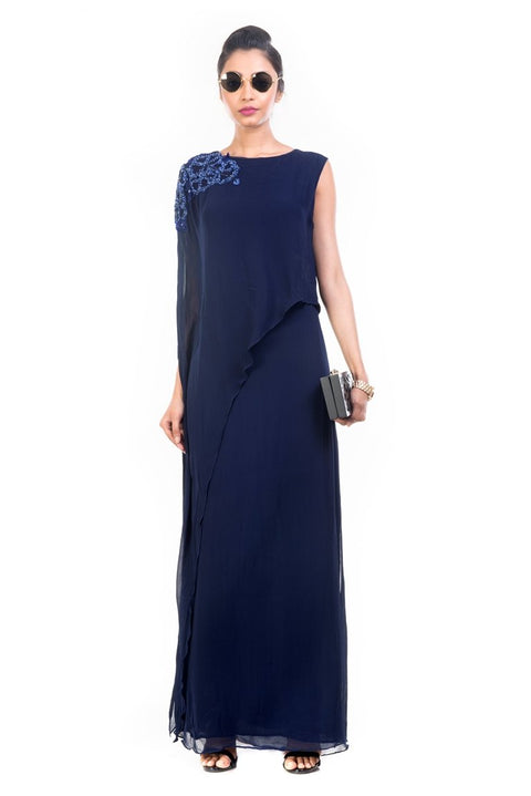 Navy Blue Long Layered Cape Tunic - AWT2261