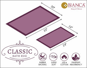CLASSIC BATH MAT 100% Cotton with Anti Skid, Rubber Backing, Max absorbance & Super soft (BM491A)