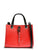 Colorblocked Saffiano Charm Satchel Red