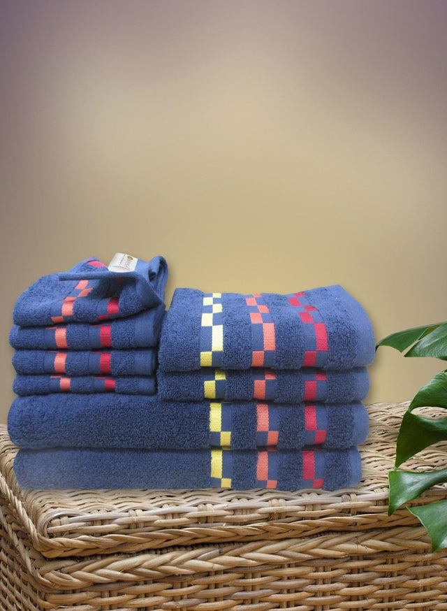 8 Pc Sonoma Towel Set 100% Cotton (2 Bath Towel+ 2 Hand Towel + 4 Face Towel) (C_Bt123Z_Bt123Z_Ht55Z_Ft93Z)